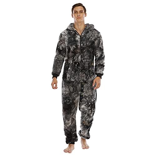 BIBOKAOKE Jumpsuit Schlafanzug Herren Plüsch Schlafoveralls Einteiler Strampler Mit Kapuze und Reißverschluss Sportanzug Onesie Pyjama Bodysuit Hausanzug Overall Geschenke für Männer