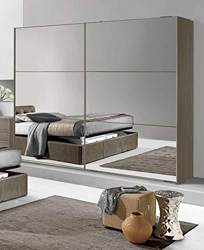 Dafne Italian Design Kleiderschrank mit 2 Schiebetüren, Walnuss-Effekt, Dunkel, 277 x 66 x 246 cm