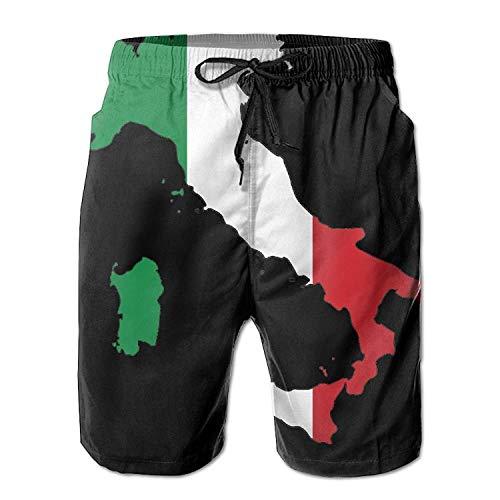 MrRui Italiaanse vlag kaart mannen/jongens Casual sneldrogende bad pakken elastische taille strand broek met zakken