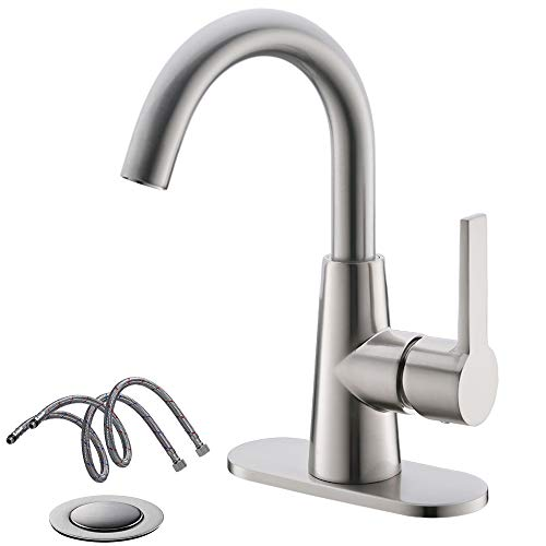 Brushed Nickel Bathroom Sink Faucet Bar Sink Pre-Kitchen Sink Faucet with 4 Inch Deck Plate,Drain and Supply Hoses by Phiestina, WE10-BN