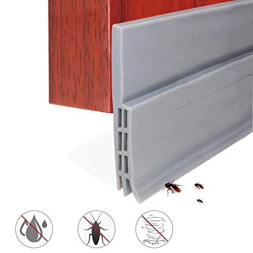 Expower Selbstklebende Tür Türdichtung Dichtungsstreifen Zugluftstopper gegen Insekt Ersatzdichtung Wetterfest Blocker Schalldichtung Silikon Türstopper 100 * 5cm (1M Grau)