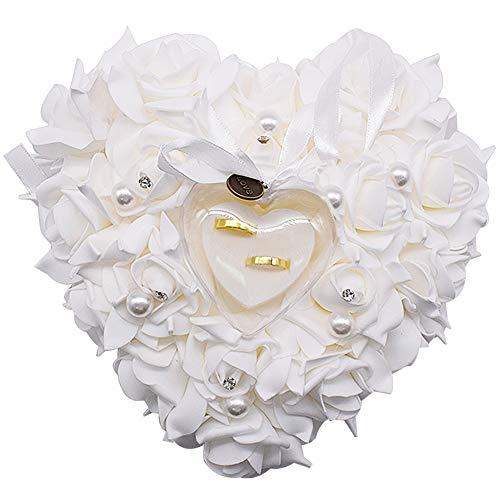 JPYZ Almohada Anillo de Boda 23 * 22 cm Caja con Forma de Corazón, Almohadilla para Anillo de Boda con Elegante Flora de Satén para Joyería, Accesorios de Boda,San Valentín, Boda