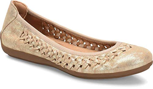 Comfortiva Women's Marilu Light Gold Leatherflats-Shoes 10 2A(N) US