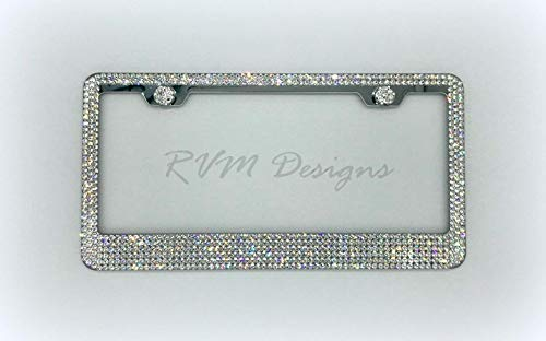 Bling 6 Row License Plate Frame made with Swarovski Crystals - Princess Queen Car Jewelry -  RVMdesigns