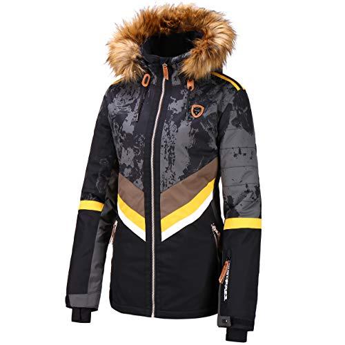 Rehall Damen Skijacke Maze Snowjacket Trashed Black schwarz/grau/gelb - S