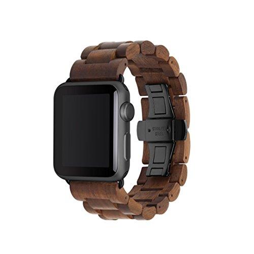 Woodcessories - Strap kompatibel mit Apple Watch Series 1, 2, 3, 4, 5, 6, SE aus Echtholz - EcoStrap (Walnuss/schwarz, 42/44 mm)
