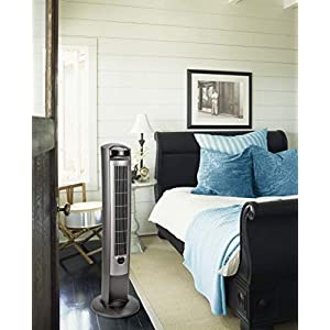 """Lasko Portable Electric 42"""" Oscillating Tower Fan with Fresh Air Ionizer, Timer and Remote Control for Indoor, Bedroom and Home Office Use, Silver 2551"""