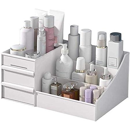 Salandens Organizador de Maquillaje, Caja organizadora de maquillaje, caja de plástico para maquillaje, caja organizadora de joyas, caja de almacenamiento para maquillaje, caja de cosméticos para regalo de muje con cajones (blanco)