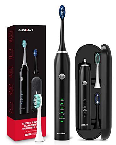 ELEGIANT Elektrische Zahnbürste 5 Modi Elektrische Schallzahnbürste mit Schwarz Reise-Etui 2 Aufsteckbürsten, 2 Minuten Timer, 4 Stunden USB Aufladung für maximal 30 Tage, IPX7 Wasserdicht