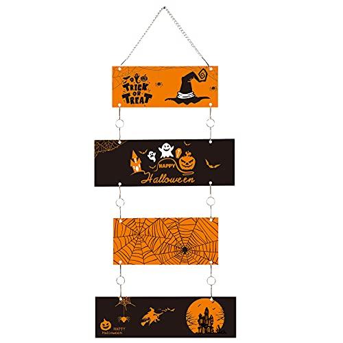 Cartello in Metallo Trick or Treat di Halloween Decorazione da Parete in Metallo Happy Halloween Cartello Appendere per Porta Halloween Nero e Arancione con Ragnatela Strega Zucche Fantasma
