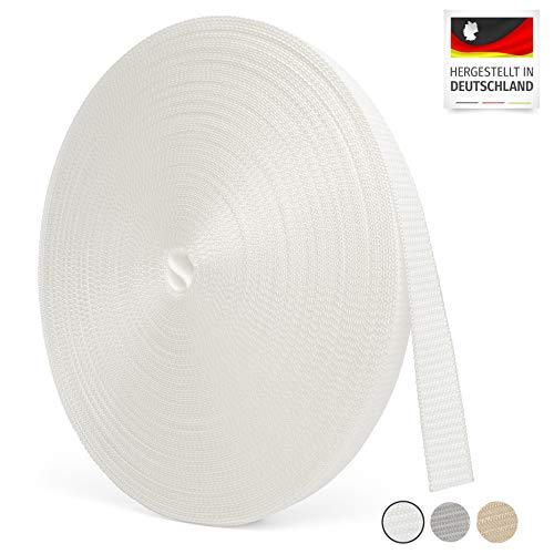 BAUHELD Rolladengurt 23mm [Made in Germany] - 50m Rolle in 1,6-1,9mm Stärke - für Rolläden an Türen und Fenstern geeignet – Rolladen-Gurtband in Weiss [Hohe Reißfestigkeit und UV-Stabilität]