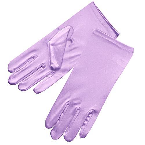ZAZA BRIDAL Shiny Stretch Satin Dress Gloves Wrist Length 2BL-Lavender