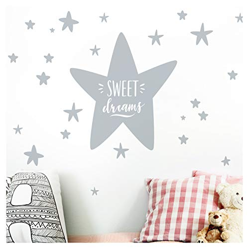 Little Deco sticker kinderkamer sterren spreuk Sweet Dreams I Jongens Muursticker babykamer baby Muursticker DO251 (BxH) 180 x 108 cm koper