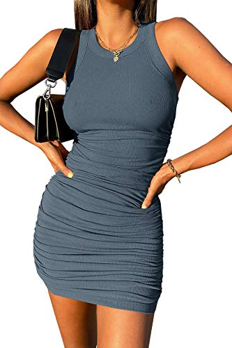 Wenrine Womens Crew Neck Sleeveless Bodycon Dress Ribbed Slim Fit Ruched Stretchy Party Club Short Mini Dress Blue