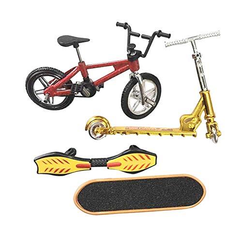 Perfeclan Mini Juego de Juguetes de Dedo monopatín Bicicletas de Dedo Scooter pequeño Swing Board 4 unids/Set - D