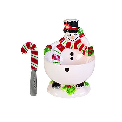 Fitz and Floyd Top Hat Frosty Collection Footed Bowl with Spreader, White