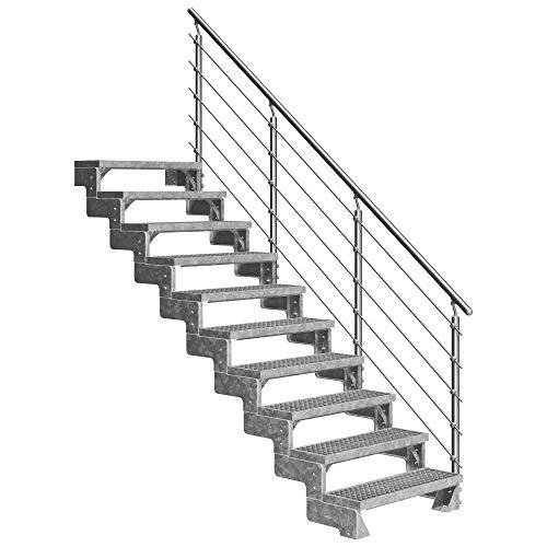 DOLLE Außentreppe Gardentop mit 10 Stufen | Geschosshöhe 180-220 cm │ Stufenauflage Gitterroststufen │ Stufenbreite: 80 cm | mit Prova-Geländer