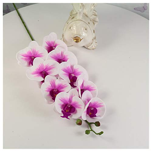 CQHUI 1 Set High Grade Orchids Arrangement Latex Silicon Real Touch Big Size Luxury Table Flower Home Hotel Decor No Vase (Color : Burgundy)