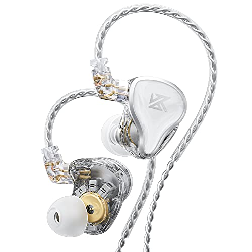 KZ ZAS in-Ear Headphones Wired,IEM Earphones,16-Unit Hybrid High-Frequency 7BA+10mm Dual DD HiFi Stereo Sound Earphones Noise Cancelling Earbuds(White,No Mic)