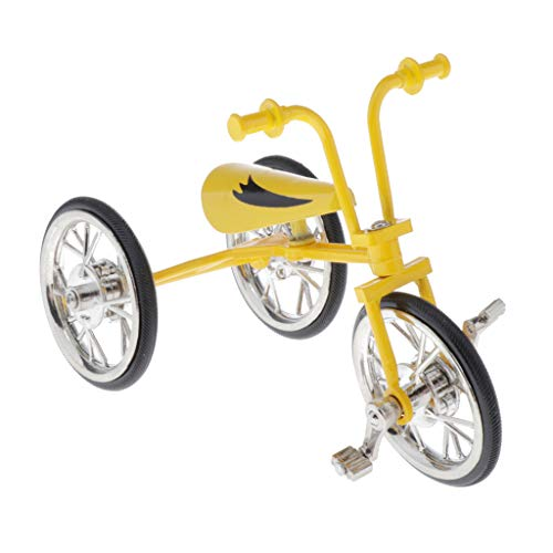 Toygogo 1:10 Juguete de Triciclo de Simulación en Miniatura Bicicleta Realista Obra Artesanal Niños Adultos - Amarillo