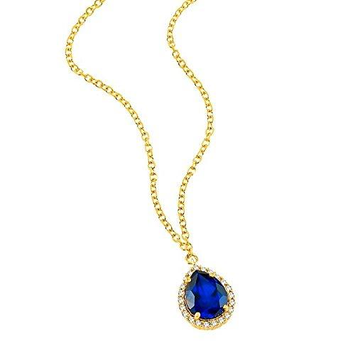aion Tropfen Anhänger mit Kette Gold 750 Gelbgold 18K Syntht Saphir Blau Damen Collier 45-50cm