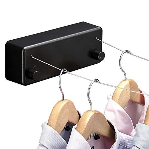 Clothesline Extensible Tendedero - Secador De Dos LíNeas, Tendedero Invisible | 4.2m (13.8ft) | para Interior Y Exterior | Cuerda De Acero Inoxidable 304 | FáCil De Instalar