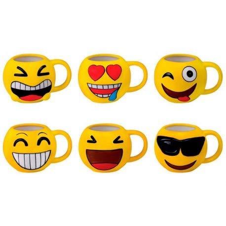DISOK - Lote 48 Tazas Emoticonos - Regalos de Comuniones Niños/Niñas - Tazas Emojis, Emoticonos para Niños, Infantiles, Juveniles. Mugs Desayuno para Regalos y Detalles de Comuniones y Cumpleaños