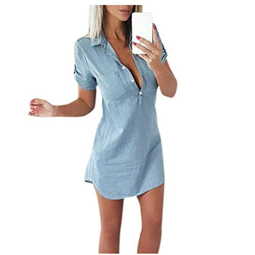 Longra Damen Jeanskleid Hemdblusenkleid Longshirt Tunika Damenmode 2018 Retro Denim Blau Hemd Kleid Kurzarm Sommerkleider mit Knopf Slim Jeans Party Minikleid Jeansbluse Hemdbluse (Blue, XL)