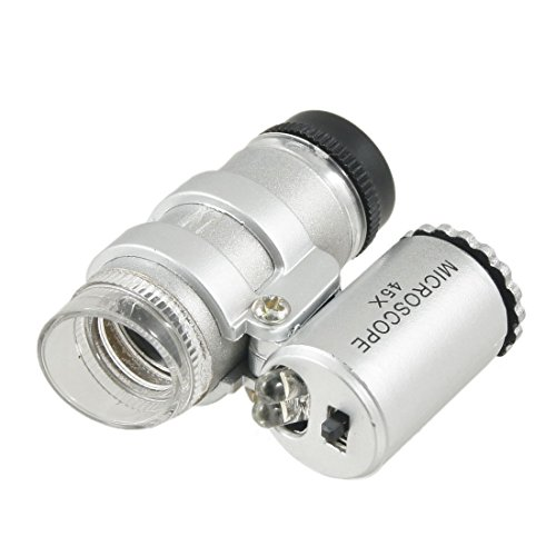 PHYHOO 45X Mini Pocket Microscope with LED Lamp Jeweler Magnifier Loupe
