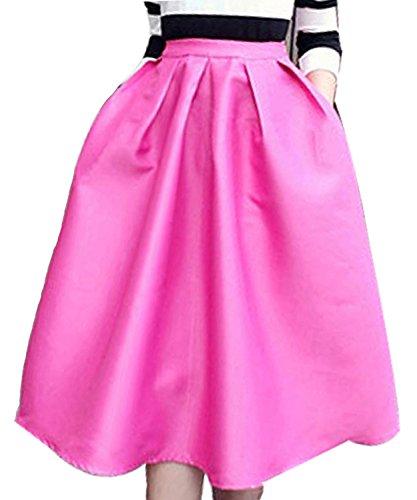 FACE N FACE Women's High Waisted A line Street Skirt Skater Pleated Full Midi Skirt XX-Large Rose Red