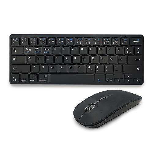 Preisvergleich Produktbild Maxesla Bluetooth Tastatur Maus Set Kabellos - Silent Ultraslim Kleine Kompakte Bluetooth 3.0 Tastatur und Funkmaus Combo,  QWERTZ Deutsches Layout,  für PC / Desktop / Laptop / Windows / Android,  Schwarz