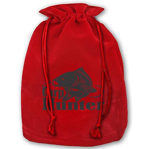 Bolsas de Navidad con cordón, cazador de carpas de pesca de gran capacidad bolsa de regalo actualizada terciopelo dorado caramelo bolsa rojo bolsas de fiesta de Navidad