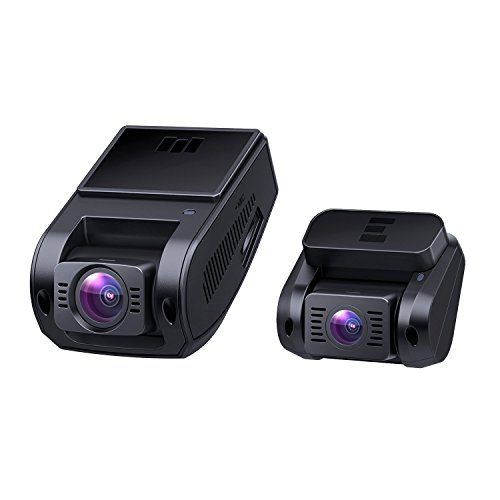 AUKEY Dual Dash Cameras, 1080P HD Front and Rear Camera, 6-Lane 170° Wide-Angle Lens, Night Vision, G-Sensor, Dual-Port Car Charger