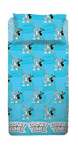 Warner Bros - Juego de cama individual Looney Tunes, color azul, negro