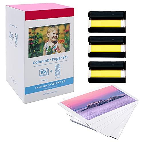 Oozmas Ersatz Canon Selphy CP CP1300 CP1200 CP910 CP800 Fotopapier KP-108IN 3115B001(AA) kompatibel für Canon Selphy Fotodrucker, 108 Blatt Foto Papier (100 x 148 mm) + 3 Farbkartusche