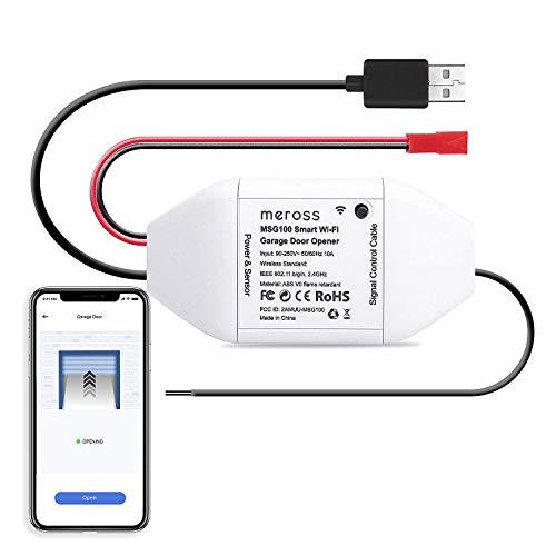 meross Smart WLAN Garagentoröffner, APP-Steuerung, Kompatibel mit Alexa, Google Assistant und SmartThings, kein Hub erforderlich, weiß