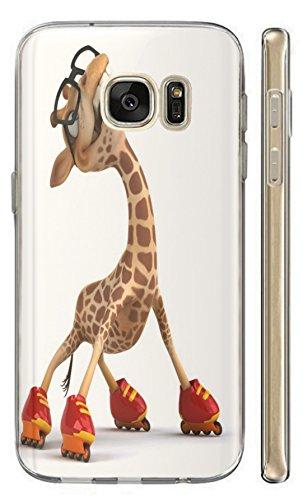 Hülle für Samsung Galaxy A5 2016 Hülle Softcase TPU Handyhülle für Samsung A5 2016 Cover Backkover Schutzhülle Slim Case (636 Giraffe mit Rollschuhen lustig Funny Cartoon Animiert Rot Braun)