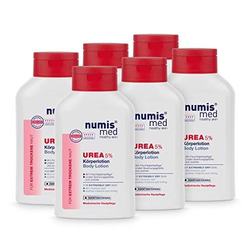 numis med Körperlotion mit 5{04abdf1d623b75db17908b2c8348ceaef0f044339a6149805052fcba5f182ec5} Urea - Hautberuhigende Bodylotion für extrem trockene, zu Juckreiz neigende Haut - vegane Hautpflege ohne Silikone, Parabene & Mineralöl - Lotion 6er Pack (6x 300 ml)