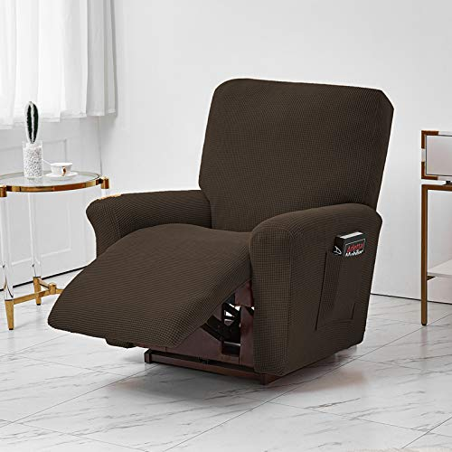 Jacquard Recliner Chair Covers, Stretch Polyester Recliner Chair Furniture Cover, Sofa Cover Slipcover with Elastic Bottom Side Pocket Fit for Living Room (Brown)