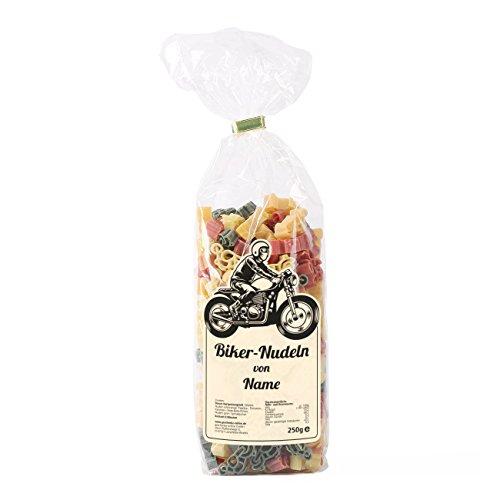 Herz & Heim® Biker-Nudeln für Motorradfahrer mit Namensaufdruck auf dem Etikett