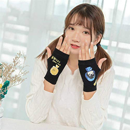 FFSMCQ Cartoon Winter Half Finger Driving Handschuhe Strick Damen E-Piano Handschuhe Fingerlose Handschuhe Warme Nette Handschuhe D