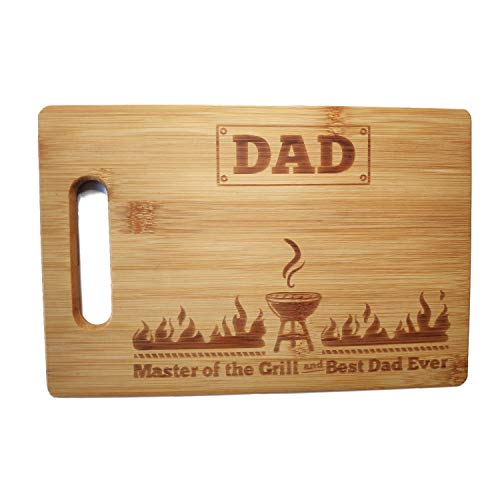 Laser Engraved Cutting Board Master of the Grill and Best Dad Ever Father's Day Gifts Birthday Gifts for Dad Personalized Cutting Board Gift Rectangle Bamboo Cutting Board (10.6 x 7 Rectangle)