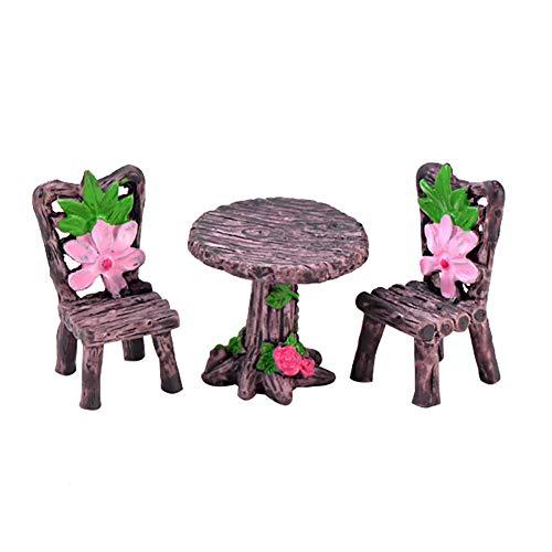 meiyuan 3pcs/Set Miniature Fairy Garden Table Chair Ornament Dollhouse Landscape Bonsai Outdoor Home Decoration 4#