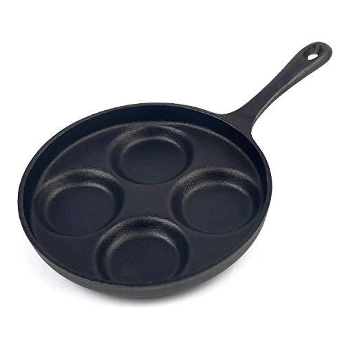 FXXJ 4-Tassen-Gusseisen Spiegelei Panm, Pfannkuchen Pfanne Burger Omelett Herd Bratpfanne, Bratpfanne Set, gewürzt, geeignet für alle Herdarten einschließlich Induktion