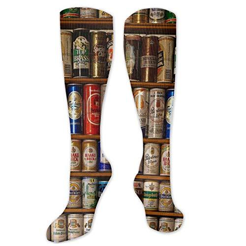 Creative Bottles Beer Art Winter High Footless Socks Insulated Boot Thermal Socks Long Leg Warmers Knee High Women Men Casual Novelty Best for Running Hiking Athletic Flight Travel