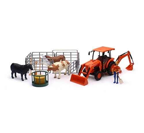 New-Ray Kubota Farm Tractor with Cow Playset