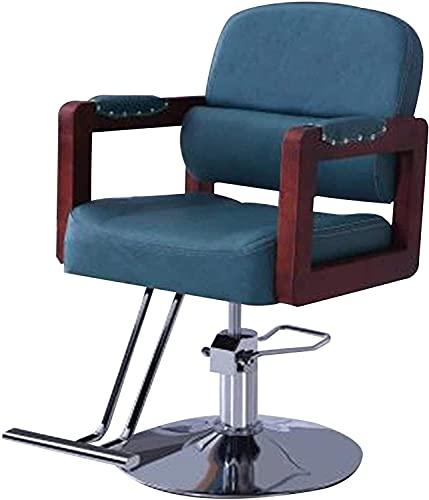 Silla de peluquería Silla de salón Silla estilista de servicio pesado Silla hidráulica ajustable, azul (Color : Blue)