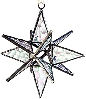 J Devlin ORN 252 Clear Iridized Glass Moravian Star Ornament or Window Ornament Dimensional Star Christmas Ornament 4 1/2 x 4 1/2