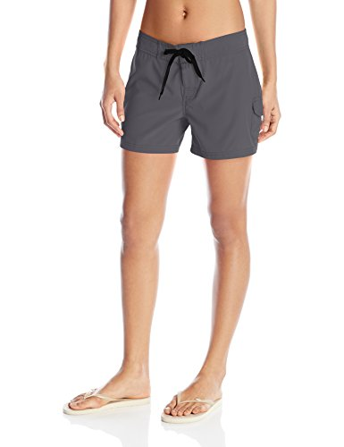 Kanu Surf Women's Breeze Solid Stretch Boardshort, Charcoal, 10