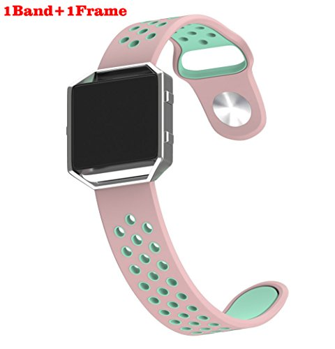 Ykunjade Fitbit Blaze Correas, Soft Silicone Sport Replacement Strap with Frame for Fitbit Blaze Smart Fitness Watch-S:Rose Pink/Green+ Silver Frame (160-195mm)